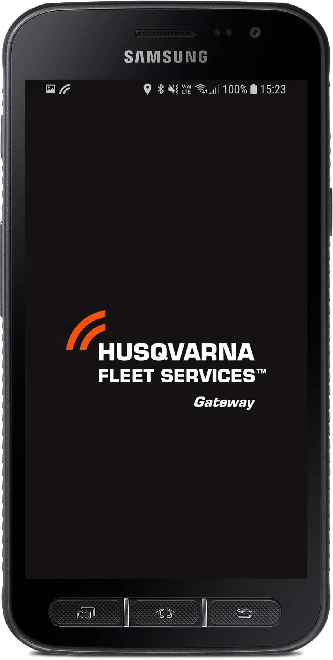 "The Husqvarna Fleet Services™ gateway app is used ""at home"" to upload the collected data to your account. Available for Android."