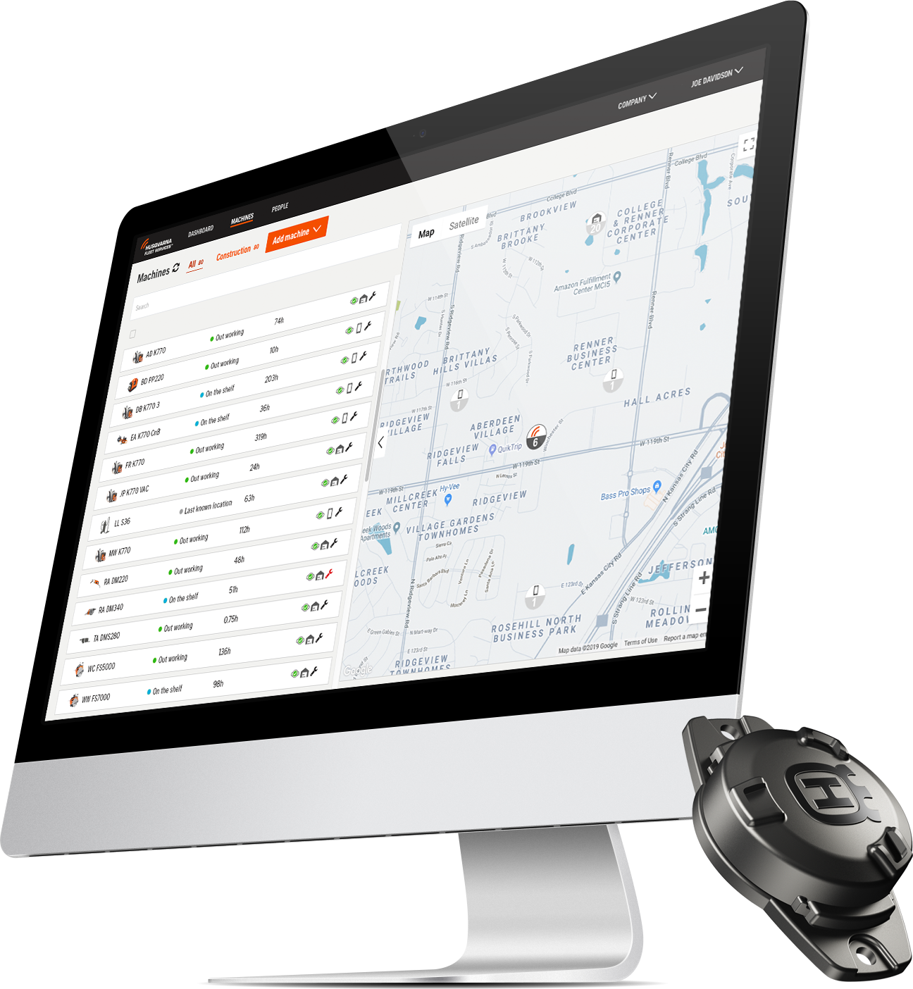 The Husqvarna Fleet Services™ web portal and machine sensor.