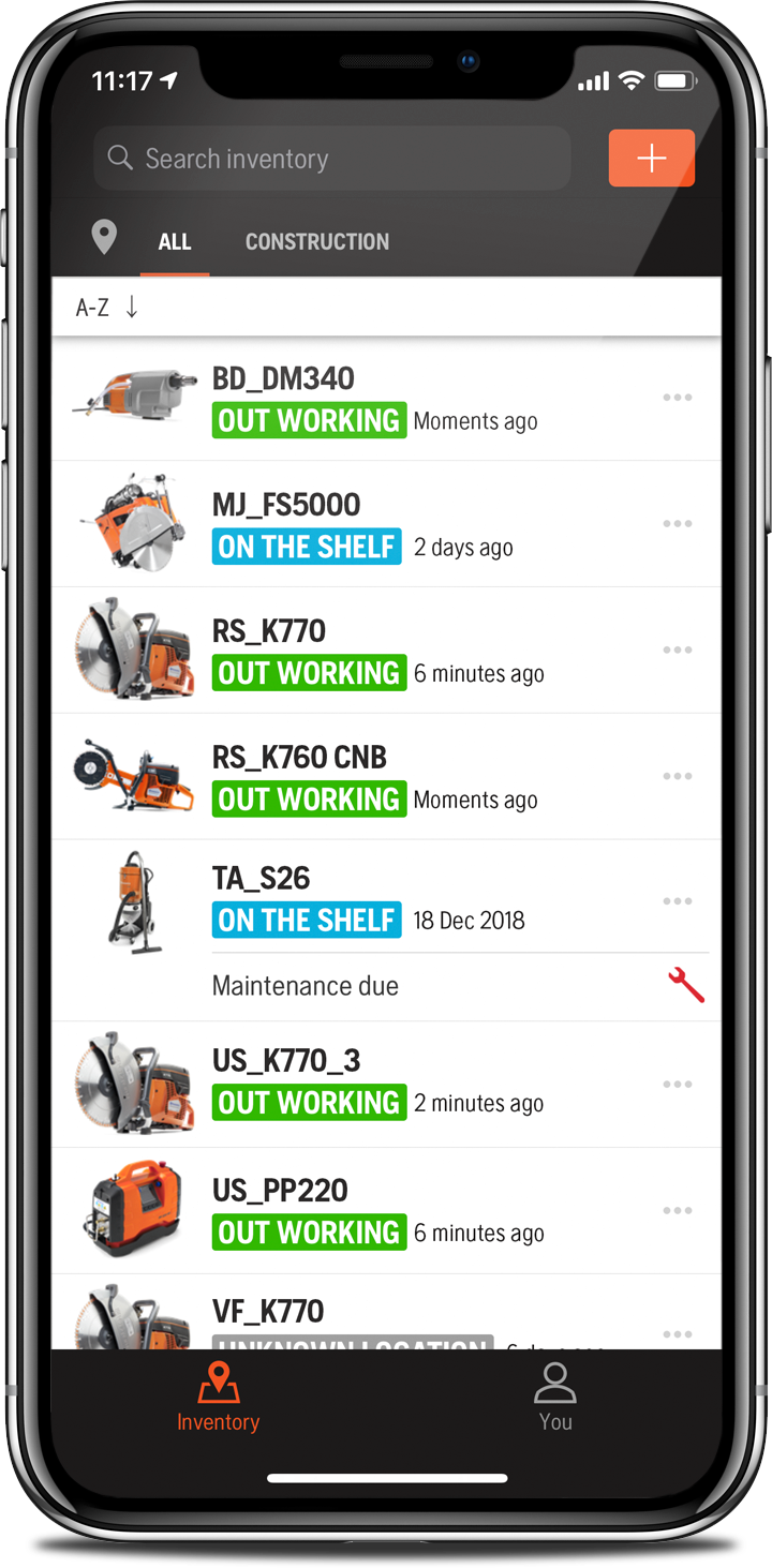 Inventory control view in the Husqvarna Fleet Services™ app.